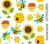 seamless pattern with funny... | Shutterstock .eps vector #1079412896