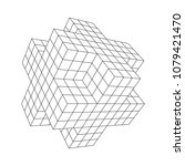 wireframe necker cube. cube of... | Shutterstock .eps vector #1079421470