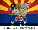 shopping trolley full of... | Shutterstock . vector #1079427344