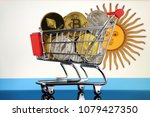shopping trolley full of... | Shutterstock . vector #1079427350