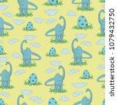 herbivorous dinosaur and egg in ... | Shutterstock .eps vector #1079432750