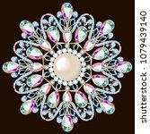 mandala brooch jewelry  design... | Shutterstock .eps vector #1079439140