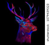 deer head. abstract colorful... | Shutterstock .eps vector #1079439323