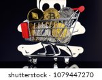 shopping trolley full of... | Shutterstock . vector #1079447270