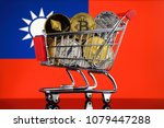 shopping trolley full of... | Shutterstock . vector #1079447288
