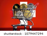 shopping trolley full of... | Shutterstock . vector #1079447294
