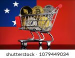 shopping trolley full of... | Shutterstock . vector #1079449034