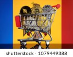 shopping trolley full of... | Shutterstock . vector #1079449388