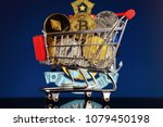 shopping trolley full of... | Shutterstock . vector #1079450198