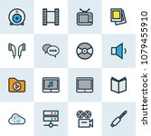 multimedia icons colored line... | Shutterstock . vector #1079455910