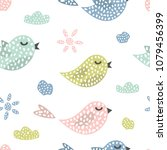 childish seamless pattern with... | Shutterstock .eps vector #1079456399