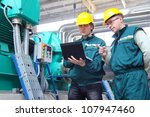 industrial workers with... | Shutterstock . vector #107947460