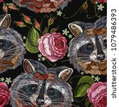 raccoon head and roses... | Shutterstock .eps vector #1079486393