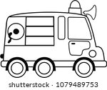 black and white fire engine... | Shutterstock .eps vector #1079489753