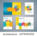 cover book design set  jigsaw... | Shutterstock .eps vector #1079493290