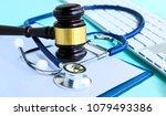 gavel and stethoscope. medical... | Shutterstock . vector #1079493386