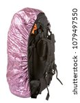 Small photo of a large black backpack on a white background, a backpack filled with a pink protective cover, an isolate