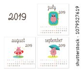 calendar  2019 with little... | Shutterstock .eps vector #1079527619