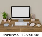 mock up computer  tablet and... | Shutterstock . vector #1079531780