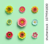 3d render  craft paper flowers  ... | Shutterstock . vector #1079541830