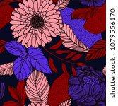 seamless floral pattern design.   Shutterstock .eps vector #1079556170