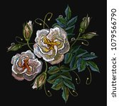 white roses embroidery.... | Shutterstock .eps vector #1079566790