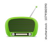 retro radio isolated on white... | Shutterstock .eps vector #1079580590