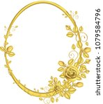 gold frame with rose pattern... | Shutterstock .eps vector #1079584796