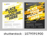 yellow flyer design sports... | Shutterstock .eps vector #1079591900
