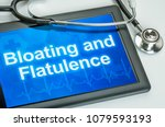 tablet with the text bloating... | Shutterstock . vector #1079593193