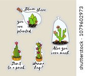 set of sticker with cactus in... | Shutterstock . vector #1079602973