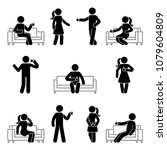 stick figure man and woman... | Shutterstock .eps vector #1079604809