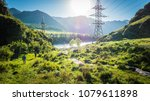 power lines in the beautiful... | Shutterstock . vector #1079611898