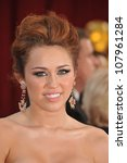 LOS ANGELES, CA - MARCH 7, 2010: Miley Cyrus at the 82nd Annual Academy Awards at the Kodak Theatre, Hollywood. - stock photo