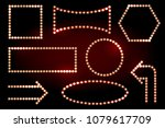 frames with light bulbs on the... | Shutterstock .eps vector #1079617709