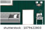 mock up poster frame in living...   Shutterstock .eps vector #1079622803