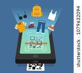 shopping online scanning qr... | Shutterstock .eps vector #1079632094