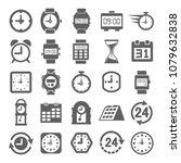 clock icon set in trendy flat...