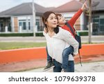 mother get a son pupil from...   Shutterstock . vector #1079639378