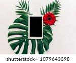 minimal flat lay digital tablet ... | Shutterstock . vector #1079643398
