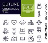set of outline icons of cyber... | Shutterstock .eps vector #1079649929