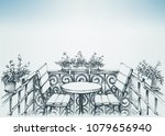 small balcony  relaxing place ... | Shutterstock .eps vector #1079656940