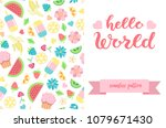 double sided cute greeting card ... | Shutterstock .eps vector #1079671430