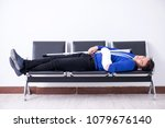 desperate man waiting for his... | Shutterstock . vector #1079676140