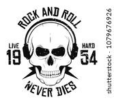 rock and roll t shirt graphic... | Shutterstock .eps vector #1079676926