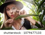portrait of nice young woman ... | Shutterstock . vector #1079677133