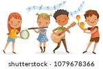 children playing music. boys... | Shutterstock .eps vector #1079678366