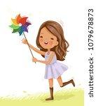 little cute girl in white dress.... | Shutterstock .eps vector #1079678873
