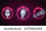 neon on the air signs set with... | Shutterstock .eps vector #1079681690