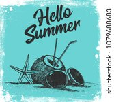 hello summer text with star... | Shutterstock .eps vector #1079688683
